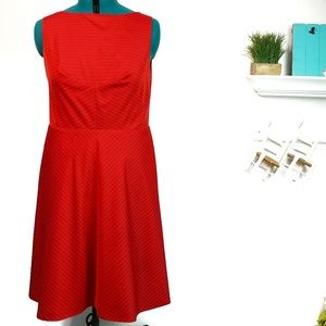 Isaac Mizrahi Striped Red Fit And Flare Dress
